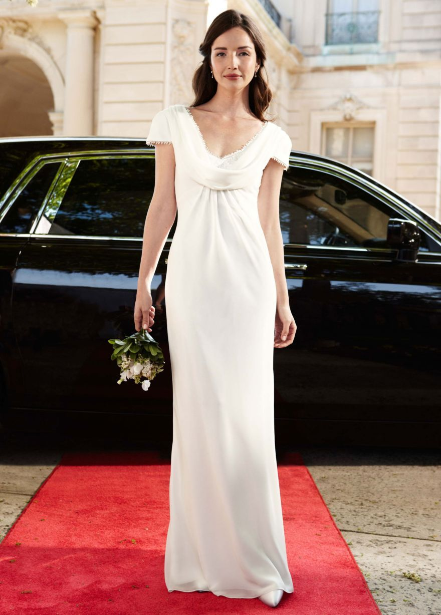 Vintage cowl neck wedding dress  Chiffon Gown with Draped Cowl Neck and Lace Detail Style