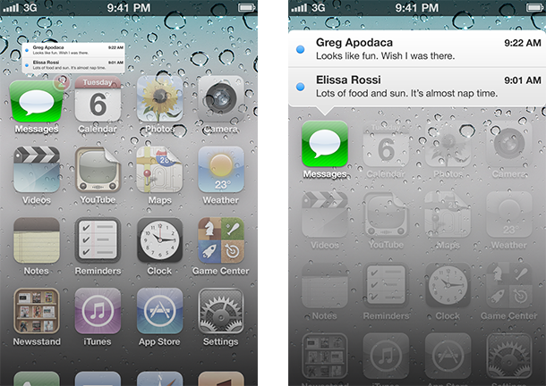 iOS interface concepts for notifications, badges, history and browsing