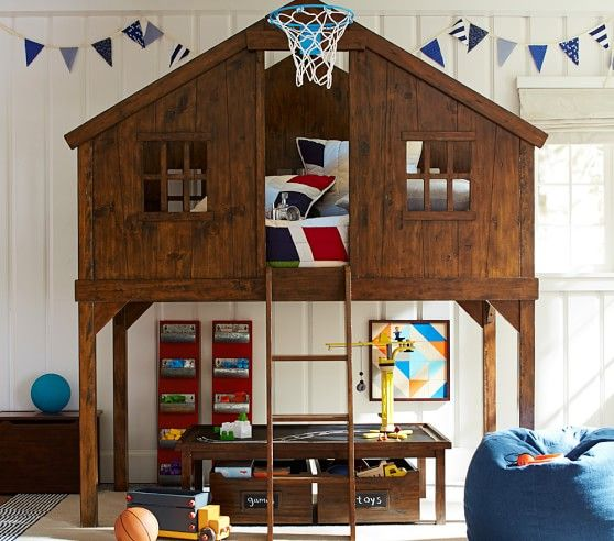 tree house fort bunk bed inspiration pennant flags, lego table and