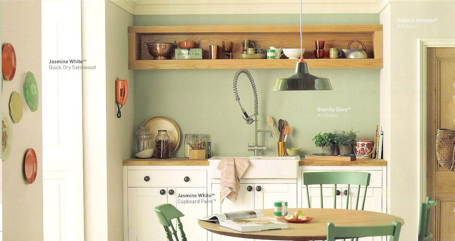 dulux decorated kitchen in overtly olive emulsion rustic. Black Bedroom Furniture Sets. Home Design Ideas