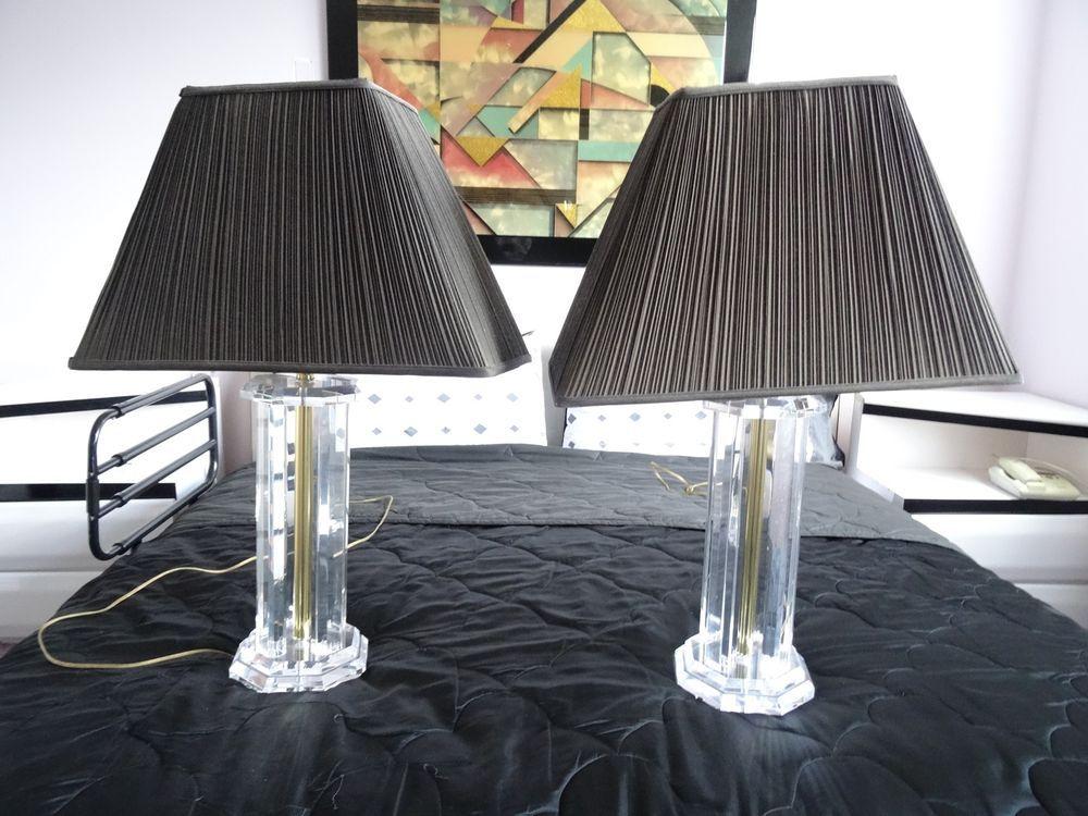 PAIR Of CHIC VINTAGE 80u0027s COLUMNAR LATTICE BRASS U0026 LUCITE TABLE LAMP