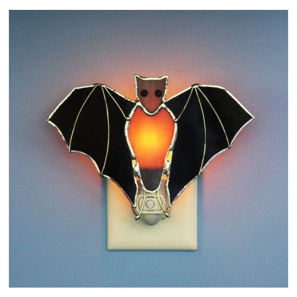 Stained Gl Black Bat Light Sensor Night Liked On Polyvore Featuring Home Lighting Wall Lights Lamp