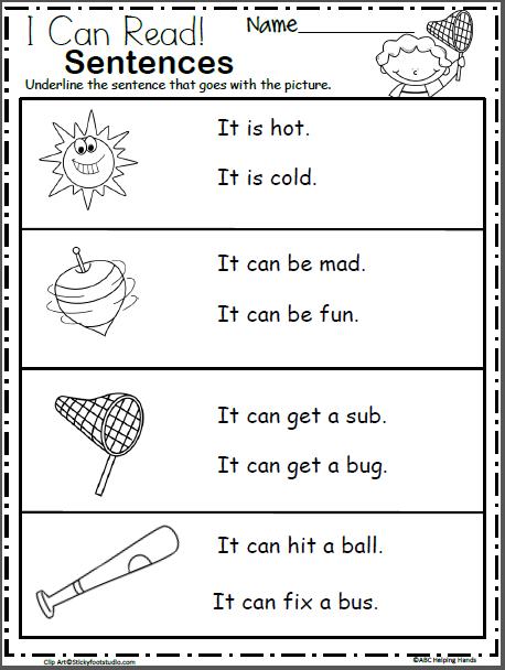 Free Kindergarten Sentence Reading Worksheets - Made By Teachers Reading  Worksheets, Kindergarten Reading Worksheets, English Worksheets For  Kindergarten