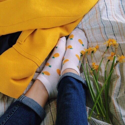 girl, tumblr and flowers image on We Heart It. Pineapple SocksAesthetic  YellowAesthetic ...