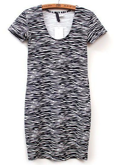 Vestido zebra manga corta-blanco y negro EUR€12.40