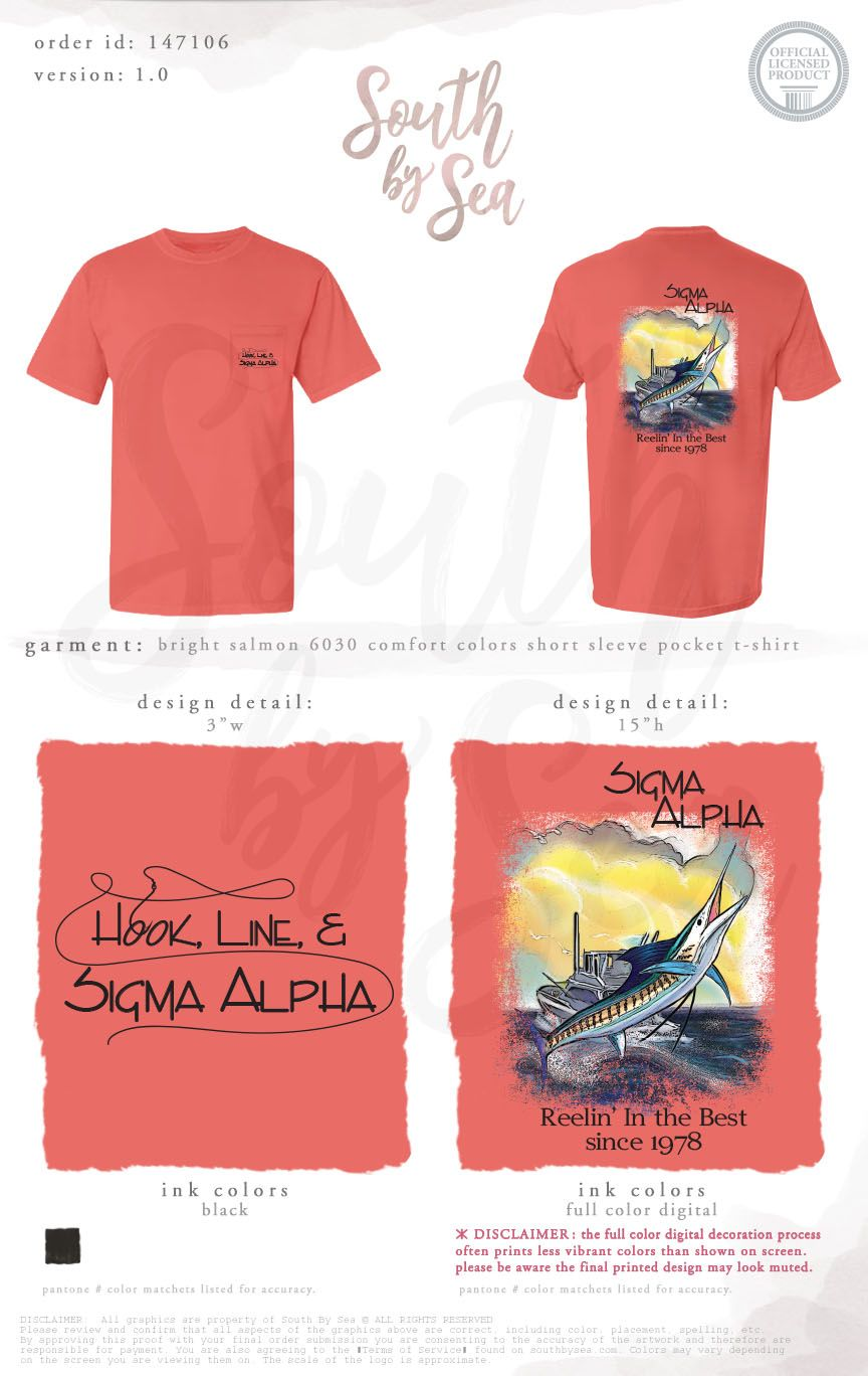 Hook Line And Sigma Alpha Fraternity Design Fishing Theme Design