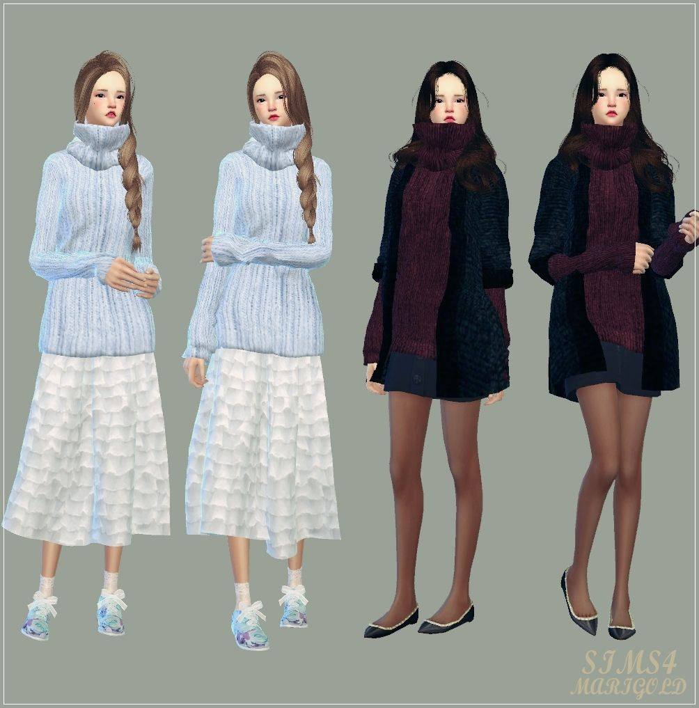 SIMS4 marigold: tight turtleneck long sweater_ tight turtleneck sweater Long _ A woman in costume
