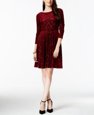 Ivanka Trump Velvet Damask Fit & Flare Dress - Dresses - Women - Macy's
