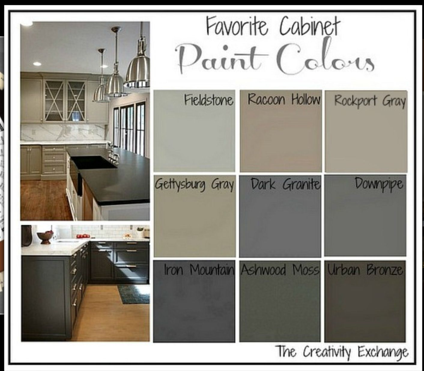 Gettysburg gray kitchen cabinets - Today On My Blog I Shared Nine Of My Favorite Kitchen Cabinet Paint Colors Choosing Paint Colors For Cabinets In The Kitchen Can Be Agonizing And I Hope