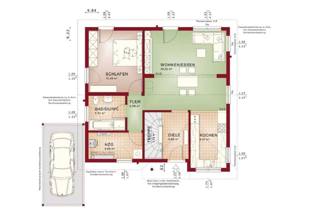 Grundriss Bungalow mit Satteldach Erdgeschoss modern