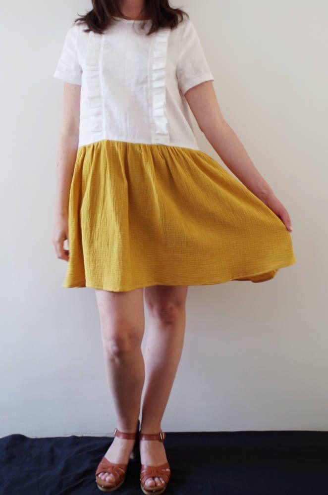 on sale 26a98 b3657 abito estivo in lino bianco e giallo / abito manica corta ...