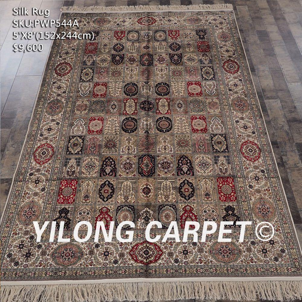 Yellow Chinese Silk Rug On Sale Handmade Carpet Materials Silk