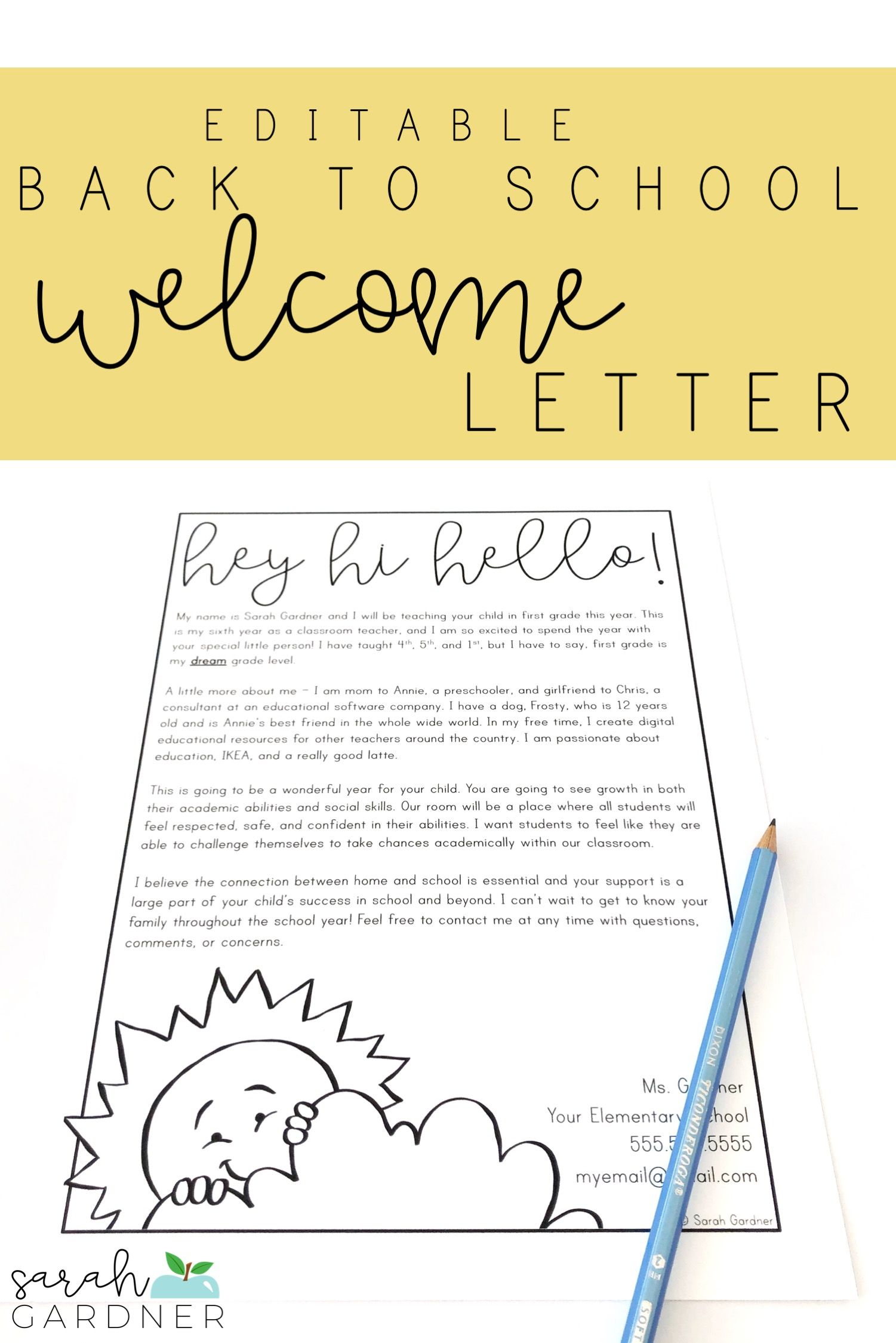 Editable Back to School Parent Welcome Letter #meettheteacherideas