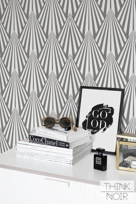 Art Deco Temporary Wallpaper Regular Or Self Adhesive Etsy Temporary Wallpaper Geometric Wallpaper Wallpaper