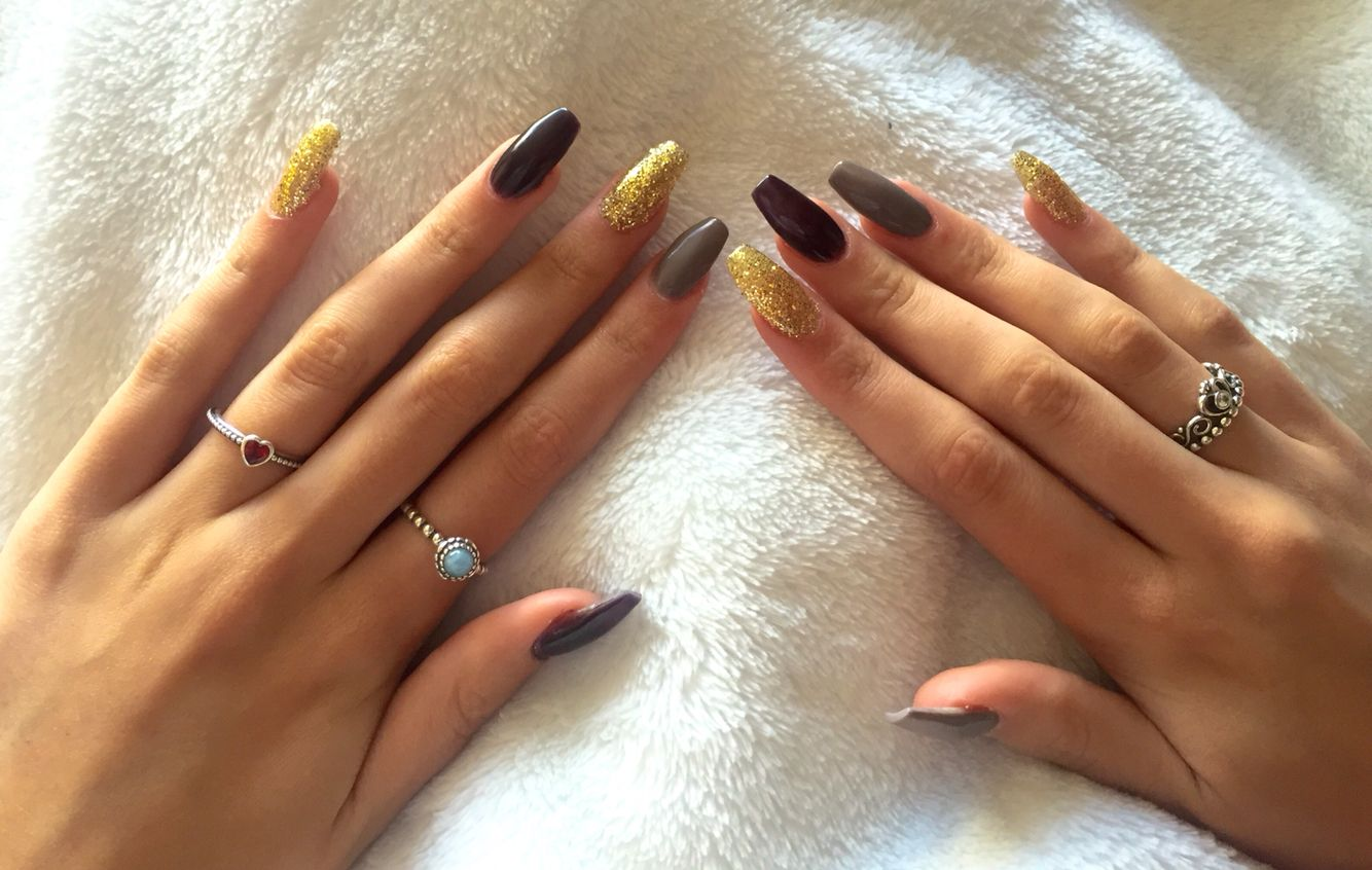 Acrylic nails in coffin/ballerina shape. Perfect for autumn due to ...