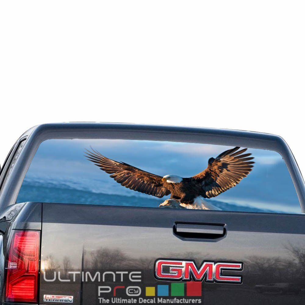 See thru sticker graphic decals rear window perforated decal sticker eagle compatible with gmc sierra film printed off road 4x4