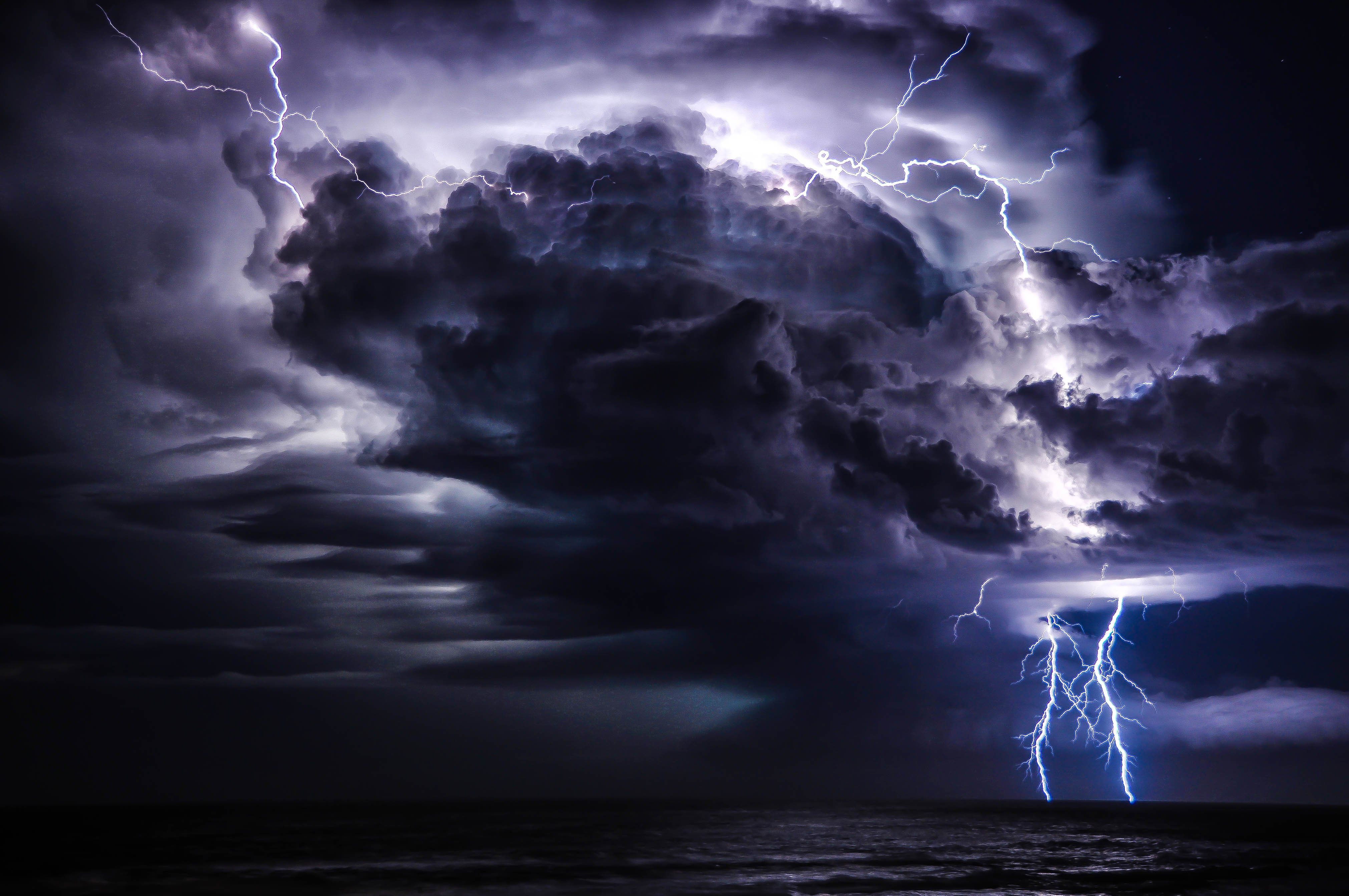Extreme Cloud Wallpaper: Storm Weather Rain Sky Clouds Nature Lightning