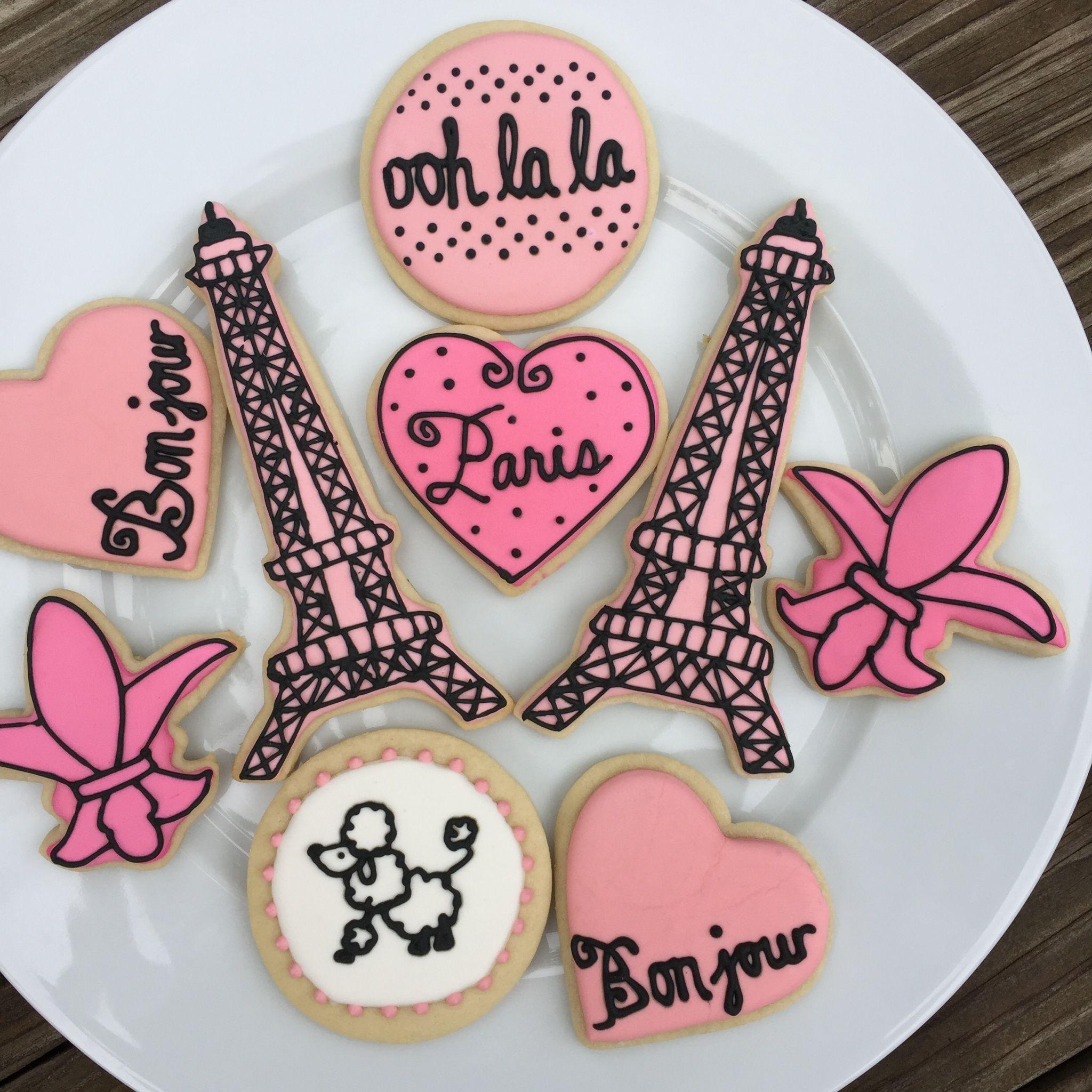 Paris Theme Bridal Shower Sugar Cookies