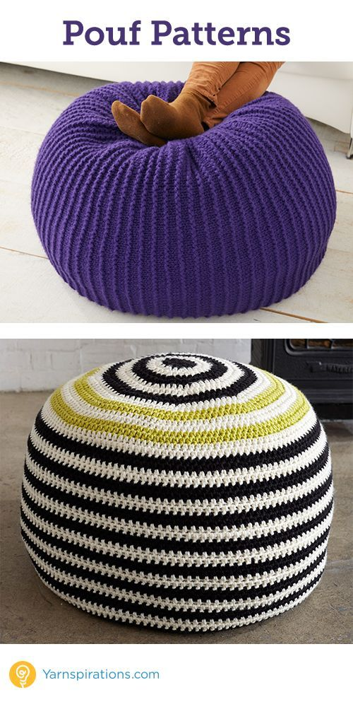 Knit and crochet Pouf will add a fun touch to any room from ...
