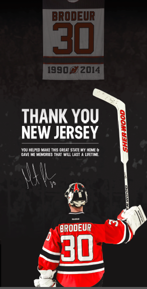 Martin Brodeur Thanks Devils Fans In Full Page Ad Other Martin