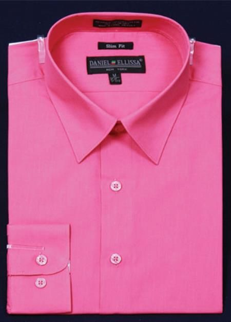 Hot Pink Color Slim Fit Dress Shirt for Men at $39 | Dress Shirts ...