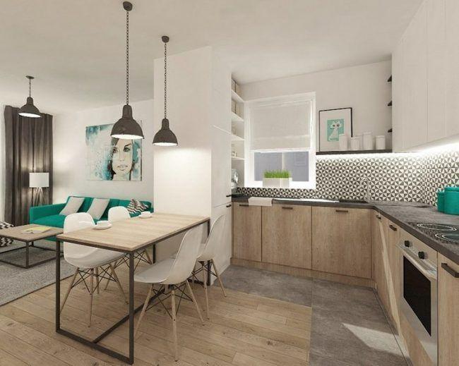moderne k chen in eiche fronten graue arbeitsplatte l form. Black Bedroom Furniture Sets. Home Design Ideas