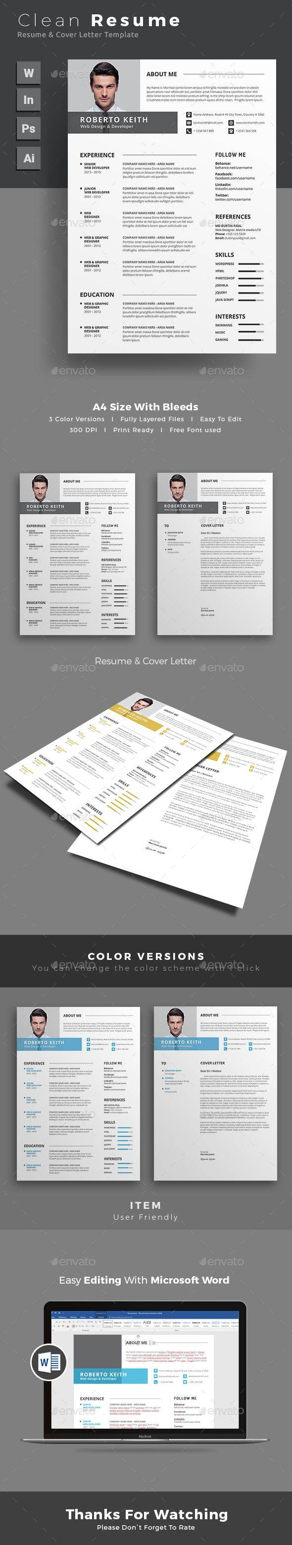 Resume  Cv Template Template And Ai Illustrator