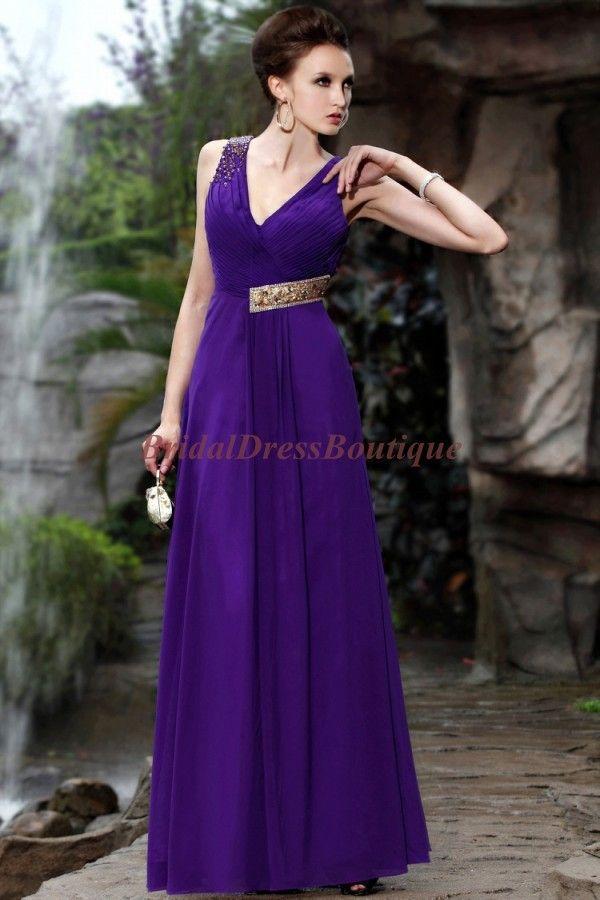 Concise A-line Duo Straps V-neckline Purple Chiffon Prom Dress ...