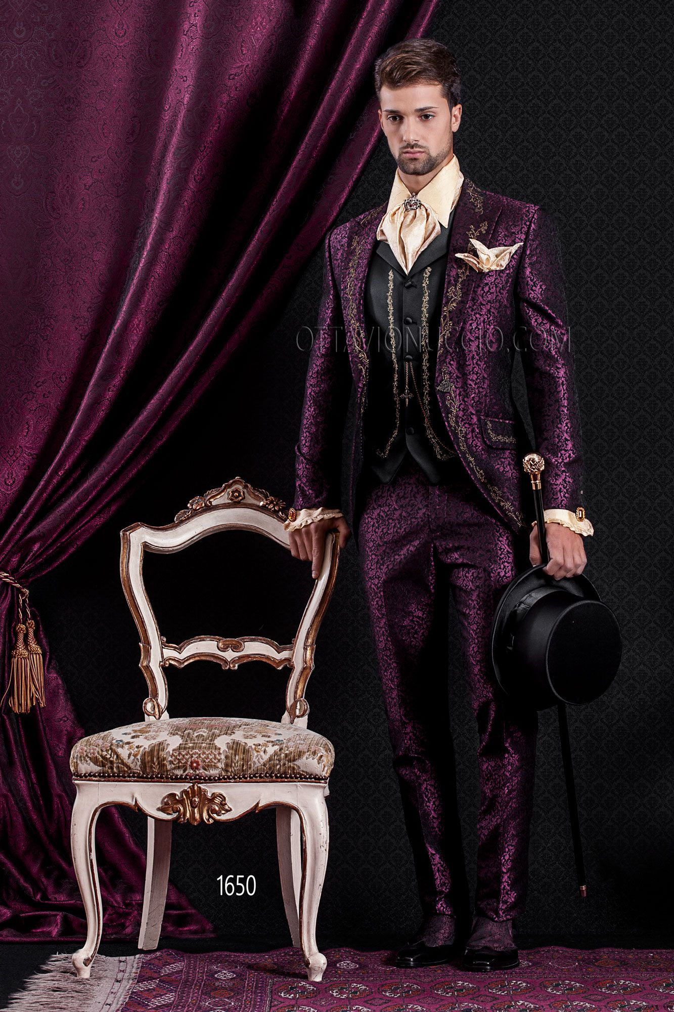 Purple damasked wedding suit for groom with embroidered vest www ...