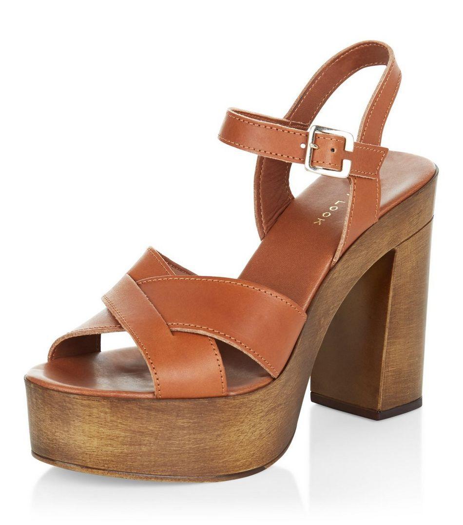 85c08f521b Tan Leather Cross Strap Wooden Platform Heels | Shoes, glorious ...