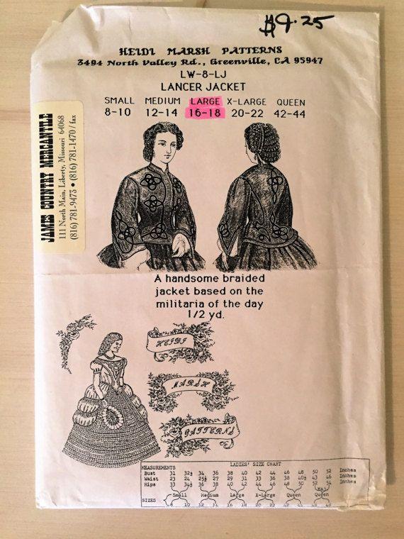 Victorian Civil War Ladies Lancer Jacket Sewing Pattern | Victorian ...
