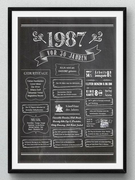 Loveandliliesde Retro Chalkboard 1987 Geburtstagsposter Zum 30