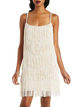Ark & Co Beaded Strap Fringe Dress: Charlotte Russe
