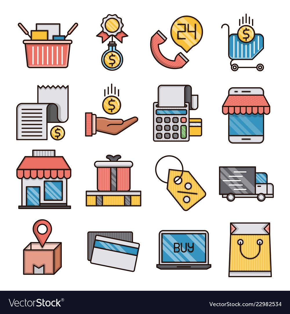 Commerce filled outline icons vector image on