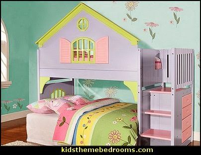 Dollhouse Style Beds Doll House Stair Step Loft Bed Theme Beds Girls Fun Theme Beds Loft Girls Loft Bed Kids Bedroom Sets