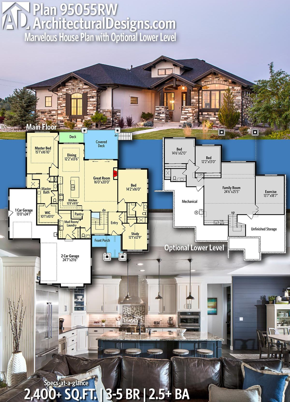 Architectural Designs Home Plan 95055rw Gives You 3 5 Bedrooms 2 5 Baths And 2 400 Sq Ft With An Opti House Blueprints Home Design Floor Plans House Plans