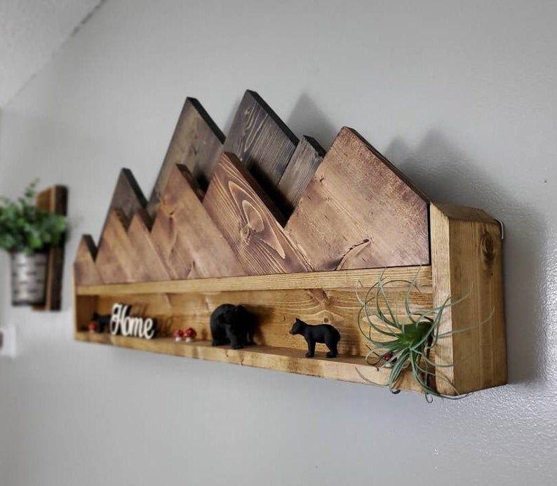 Photo of Mountain Decor, Wooden Mountain Shelf, Mountain Wall Art, Rustic Mountain Shelves, Cabin Wall Decor, Rustic Wall Shelves, Hiker Gifts