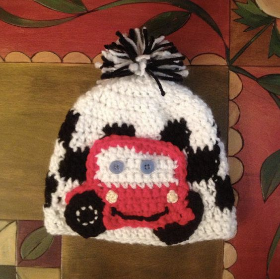 Lightning McQueen with Checkered Race Flag Newborn Hat - Adorable $9