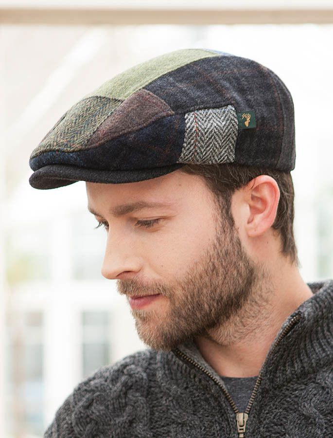 dc7c37b5 $40 many colors from Ireland Patchwork tweed Irish caps and Hats | Aran  Sweater Market