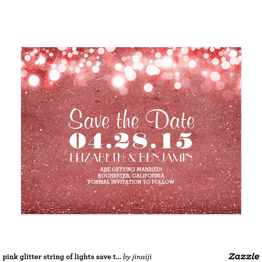 pink glitter string of lights save the date   Save the Date Cards ...