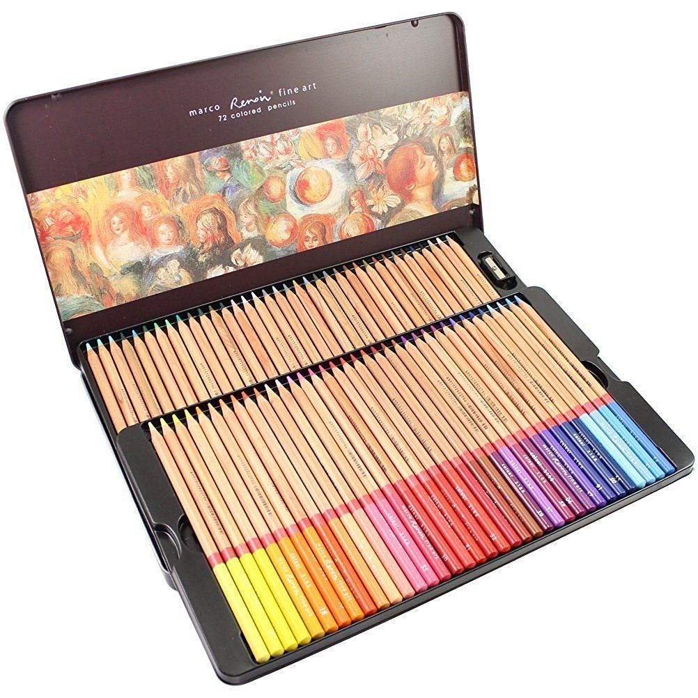 Amazon.com: Egoshop 72-color Marco Renior Oil Based Colored Pencils Set for Artist Sketching Drawing Writing Art Painting/ Adult Coloring Books Metal Tin Case