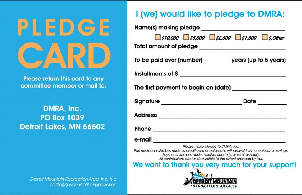 sample pledge card non profit