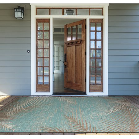 Couristan Monaco Tropical Palms/Aqua Rug, Multiple Sizes - Walmart.com
