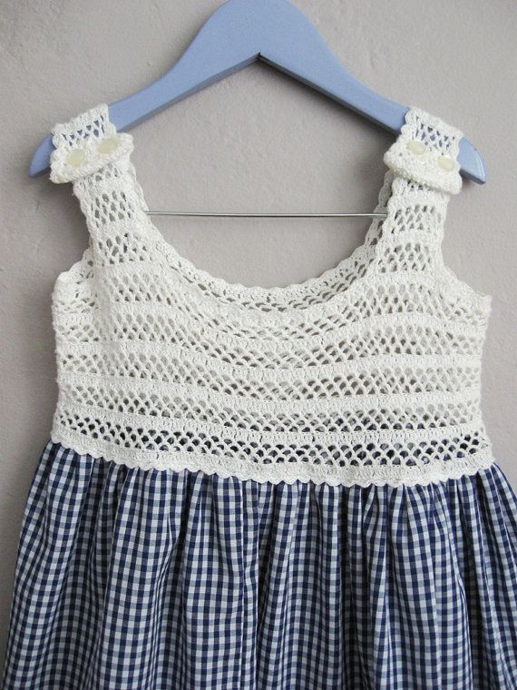 Vintage Gingham Girls Dress / Blue and White Crochet Dress / Girls Summer Dress