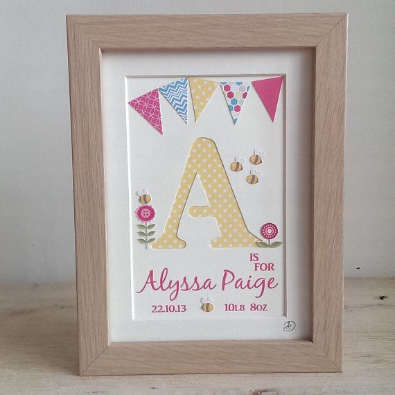 Girls Personalised Name Frame, Hand Cut Letter, Nursery Art, Gift ...