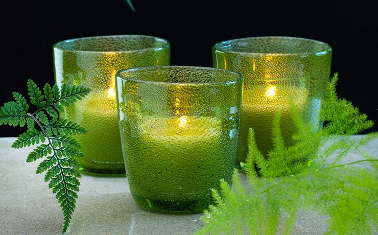 Candle Holder Raindrop Green Duni