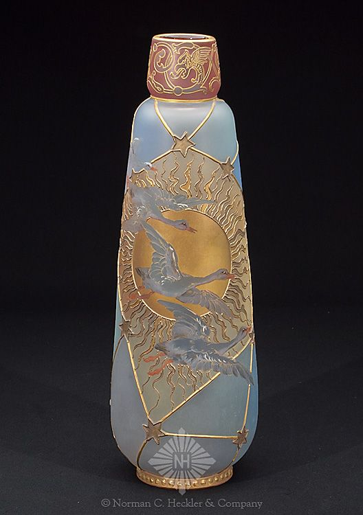Royal Flemish Tapered Vase - Snow Geese Against a Dark Gold Sun Burst with a Satin Grey Background. 14 1/4 inch HOA 4 5/8 inch DOA