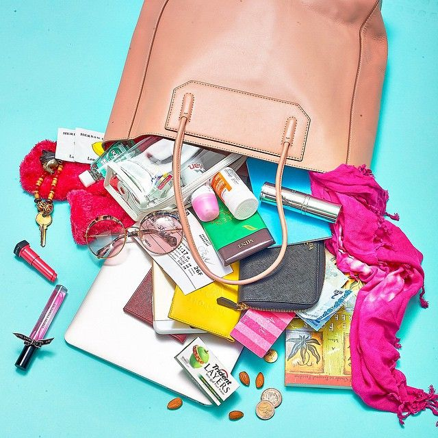 What's in my bag? @usweekly @victoriassecret @alexanderwangny @colbert_md @maxfactor