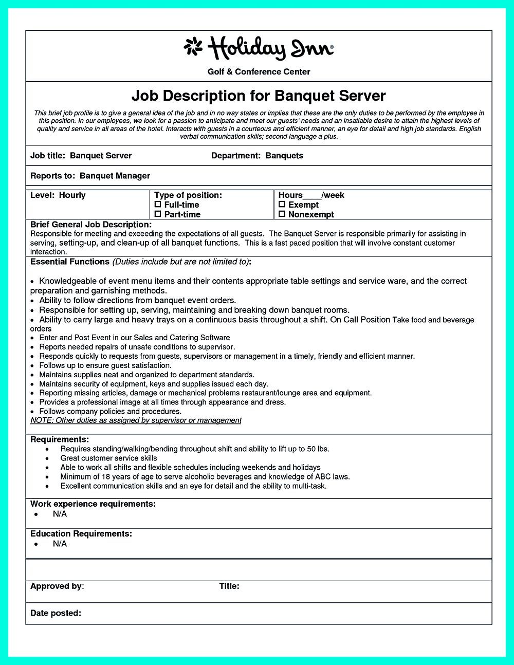 cocktail server resume skills are needed so much by the company or the restaurants which want - Banquet Server Resume Example