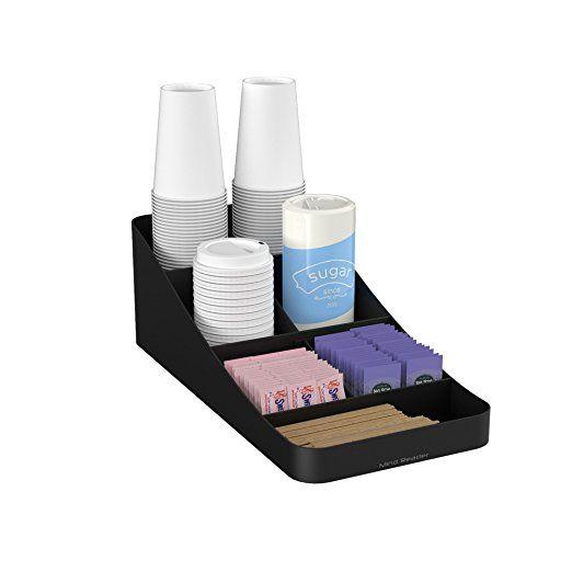 Mind Reader Trove 7 partment Coffee Condiment Organizer Black